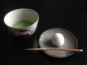 My morning set of matcha and a mochi sweet